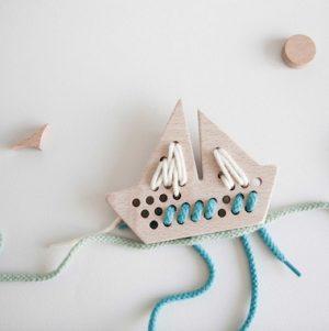 Aleta Kids Wooden Lacing Boat