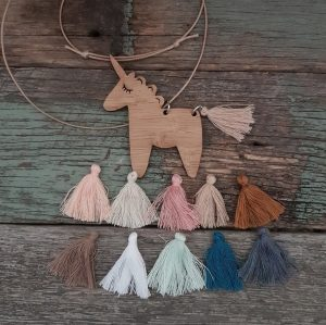 Fluffy Unicorn Bamboo Necklace