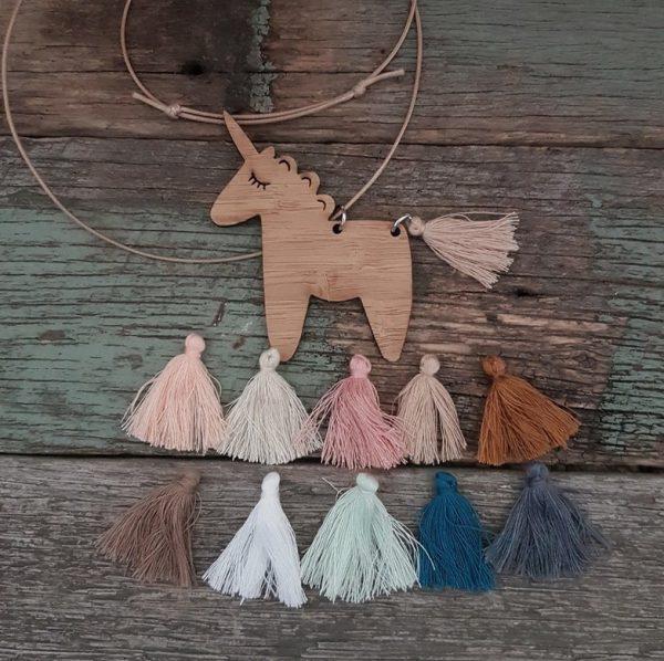 Fluffy Unicorn Bamboo Necklace