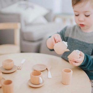 wooden tea set