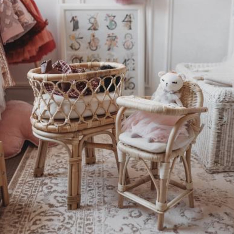 Tiny Harlow Rattan dolls bassinet