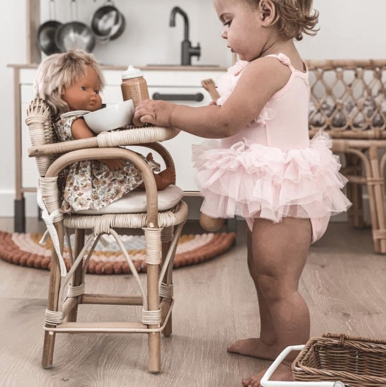 Tiny Harlow Rattan Dolls High Chair